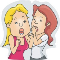a woman telling a secret to her friend