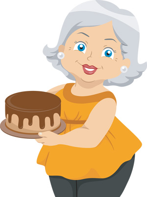 A woman with a homemade cake
