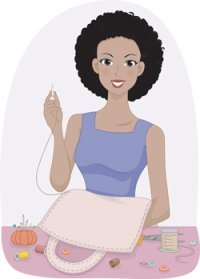 A woman sewing