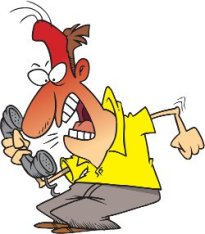 unfriendly man shouting on the phone