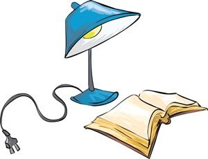 A lamp and a book