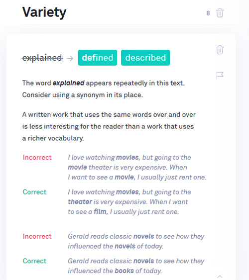 Grammarly Repetitive words