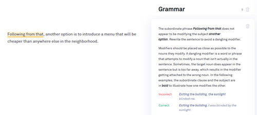 Grammarly Misplaced modifiers