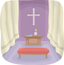 a small altar in the living room