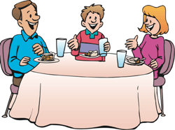 a family eating dinner