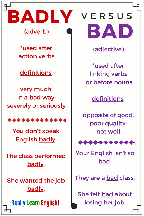 Bad vs. Badly - What Is the Difference?