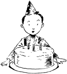 a kid with a birthday cake