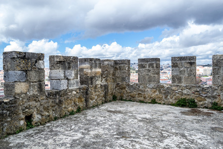 Castelo de Sao Jorge is located on a hilltop overlooking historic Lisbon (Portugal)