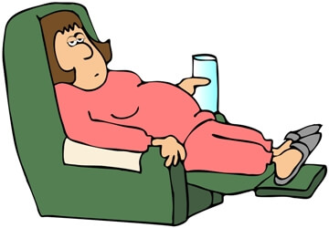 tired woman resting in a chair