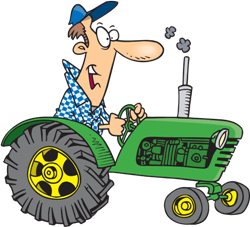 a farmer on his tractor