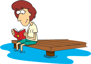 a woman relaxing and reading a book