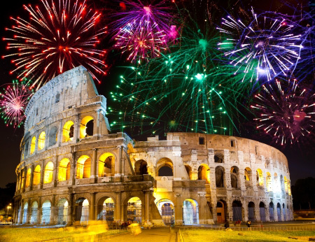 fireworks over Collosseo