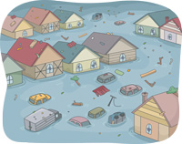 A flooded town