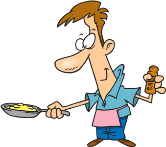 man with cooked eggs and salt