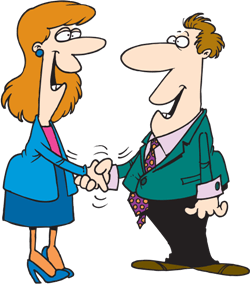 a man and woman shaking hands
