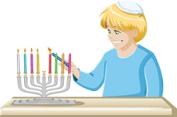 The Jewish ritual of lighting candles on Hanukkah.