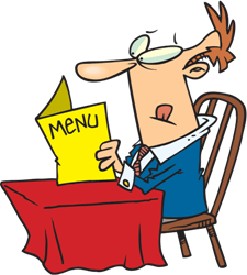 man looking at a menu