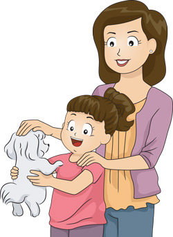 A woman, girl, and dog