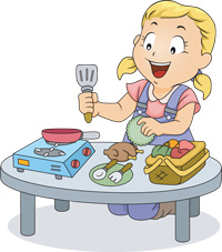 Sophie likes to cook, and her brother likes to wash the dishes. They complement each other perfectly!