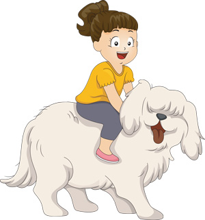 A girl on top of a dog