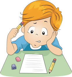 boy in an exam