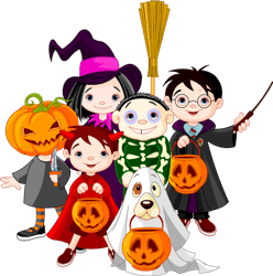 kids in costumes trick-or-treating