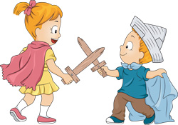 two children having a friendly competition with fake swords