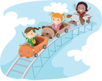 kids on a rollercoaster