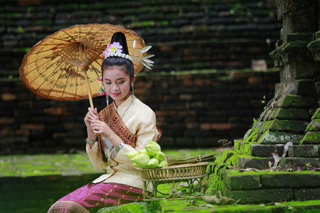 Lao girl with national costumes