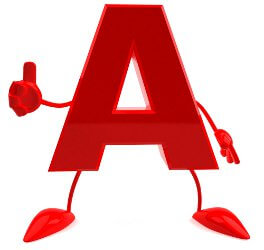 thumbs up letter A