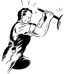 a man forcefully holding a lever