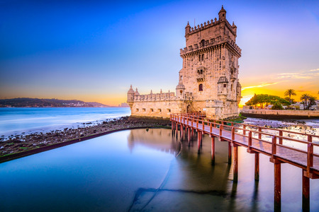 Lisbon, Portugal at Belem Tower on the Tagus River