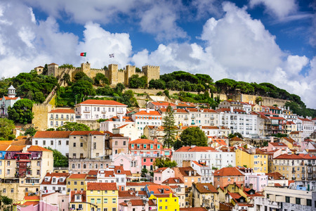 Lisbon Portugal cityscape towards Sao Jorge Castle