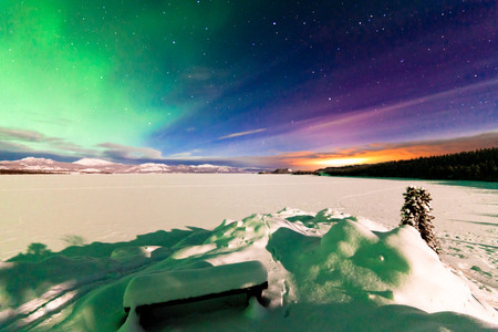 Northern Lights over frozen Lake Laberge, Yukon Territory, Canada