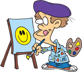 a boy painting a picture