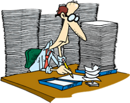 a man with lots of paperwork to do