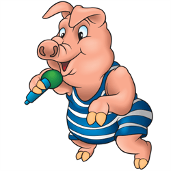 a funny pig talking into a microphone