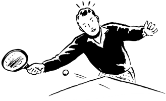 a man playing ping pong
