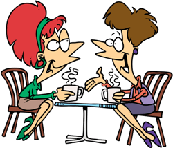 Two women talking at a cafe