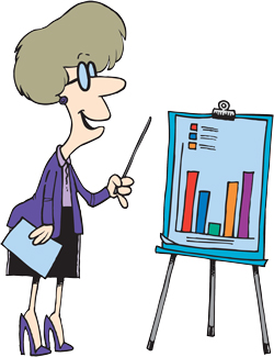 A woman showing a graph