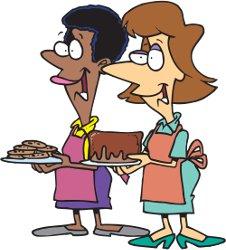two ladies offering desserts