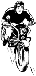 a driver on a motorbike