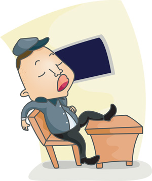 The police officer was censured for sleeping on the job.