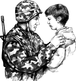 A soldier and a boy