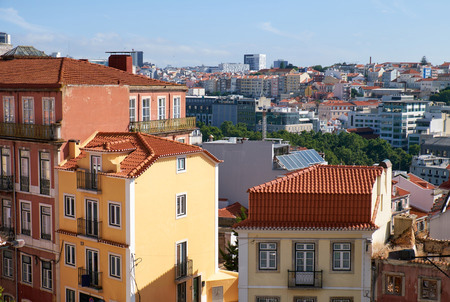 The residential houses in the Bairro Alto - central district of Lisbon, Portugal