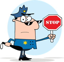 a policeman with a stop sign
