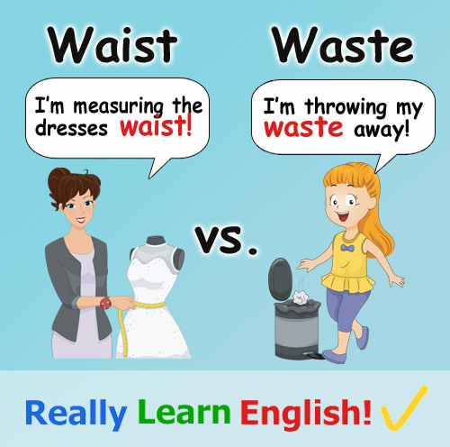 waist vs waste what is the difference with illustrations and