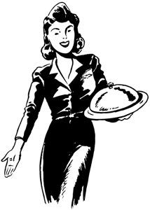 a lady serving