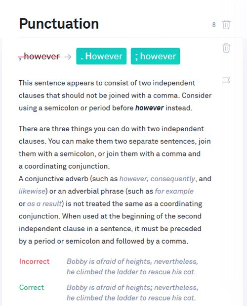 Grammarly punctuation