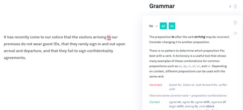 Grammarly prepositions